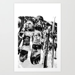 Snowboard Season in Black and White Art Print