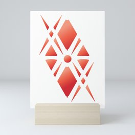Bold Flaming Red Fretwork Mini Art Print