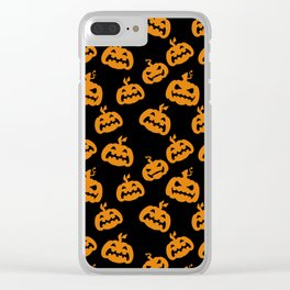 Abstract black bright orange halloween pumpkin pattern Clear iPhone Case