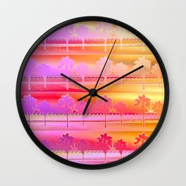 Tropical Beach Pattern (orange and magenta) Wall Clock