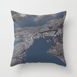 Seattle City Map II Throw Pillow