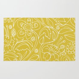 Garden Floral Drawing on Yellow Rug