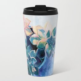 Pastel Succulents - an oil painting on canvas Travel Mug