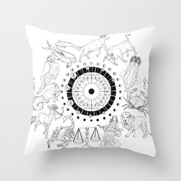 As Above, So Below - Zodiac Illustration Throw Pillow