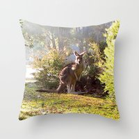 kangaroo Throw Pillows featuring Kangaroo by Nove Studio