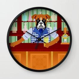 Boxer Dog Beer Pub Wall Clock