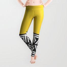 Black, White and Yellow Geo Leggings