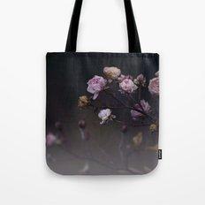 Delicate Dried Pink Mini Roses on Smoky Dark Grey Tote Bag