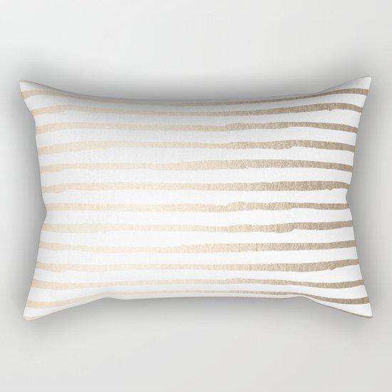 White Gold Sands Thin Stripes Rectangular Pillow