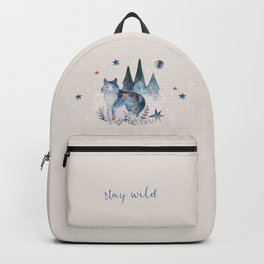 Watercolor Celestial Wolf | Mystic Forest | Soul Animal Backpack