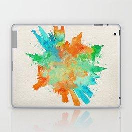 Barcelona, Spain Colorful Skyround / Skyline Watercolor Painting Laptop & iPad Skin