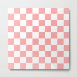 Coral Pink Checker Squares Metal Print