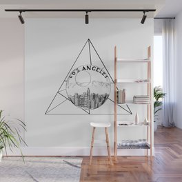 Graphic Geometric Shape Gray Los Angeles in a Bottle Wall Mural