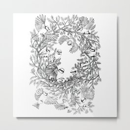 Birds tree botanical pattern Metal Print