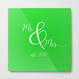 Green Mr and Mrs Metal Print