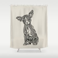 chihuahua Shower Curtains featuring Polynesian Chihuahua by Huebucket