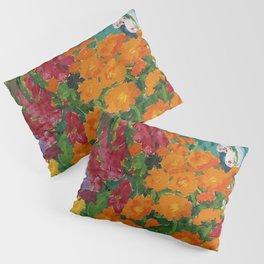 Floral Garden - Summer Marigolds & Bellflowers Still Life Painting by Emil Nolde Pillow Sham