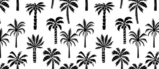 Palm Tree Linocut Pattern Minimal Tropical Black And White Minimalist Coffee Mug By Monoo