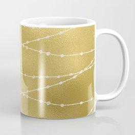 Merry christmas- white winter lights on gold pattern Coffee Mug