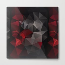 Polygon red black triangles . Metal Print