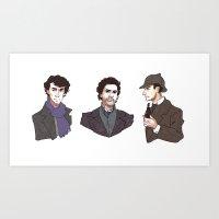 sherlock holmes Art Prints featuring Sherlock Holmes by xephia