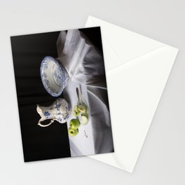 Delft blue and green apples still life Stationery Cards