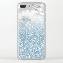 She Sparkles - Turquoise Teal Glitter Marble Clear iPhone Case