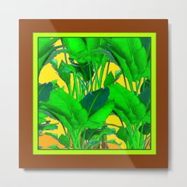 COFFEE BROWN TROPICAL GREEN & GOLD FOLIAGE ART Metal Print