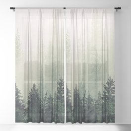 Foggy Pine Trees Sheer Curtain