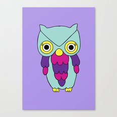 Psychedelic Woodland Turquoise Owl Canvas Print