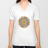 manchester V-neck T-shirts featuring Manchester Mandala  by Patricia Shea Designs