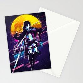 Levi attack on titan anime 80s retro vintage art Stationery Cards