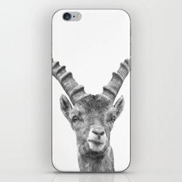 Black and white capricorn animal portrait iPhone Skin