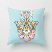 hamsa Throw Pillows featuring Hamsa  by Natasha Zen