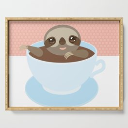 Sloth in a blue cup coffee, tea, Three-toed slot Serving Tray