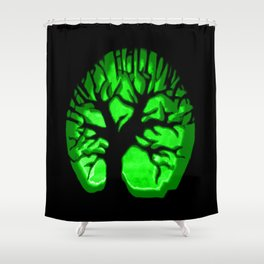 Happy HaLLoween Brain Tree : Green & Black Shower Curtain