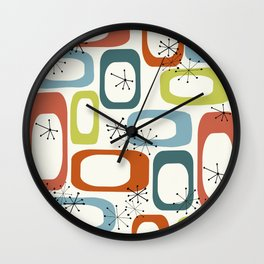 Mid Century Modern Shapes 1950s colors  Wall Clock
