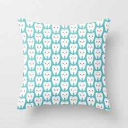 Happy teeth Throw Pillow