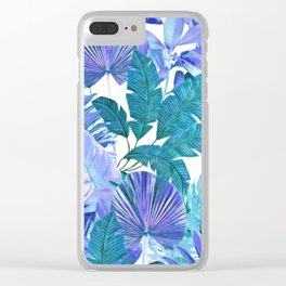Tropical Leaf Blue Clear iPhone Case