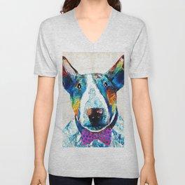 Colorful Bull Terrier Dog Art by Sharon Cummings Unisex V-Neck