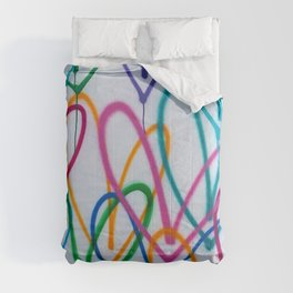 Multicoloured Love Hearts Graffiti Repeat Pattern Comforters