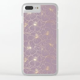 Faux Gold & Mauve Hibiscus Clear iPhone Case