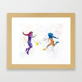 Women soccer players 01 in watercolor Framed Art Print