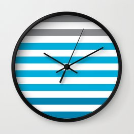 Stripes Gradient - Blue Wall Clock