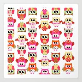 Funny cute hot pink yellow owl pattern Art Print