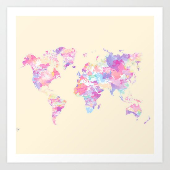 Watercolor Earth on Yellow Pastel (World Travel Wanderlust) Art Print