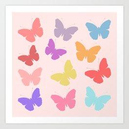 Multicoloured Butterflies on Pink Art Print
