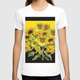 GOLDEN -BLACK SUNNY YELLOW SUNFLOWERS FIELD ART T-shirt