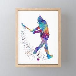 Girl Field Hockey Art Colorful Watercolor Artwork Sports Gift Framed Mini Art Print