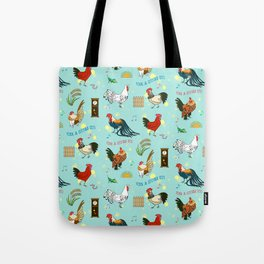 Cute seamless roosters pattern cartoon Tote Bag
